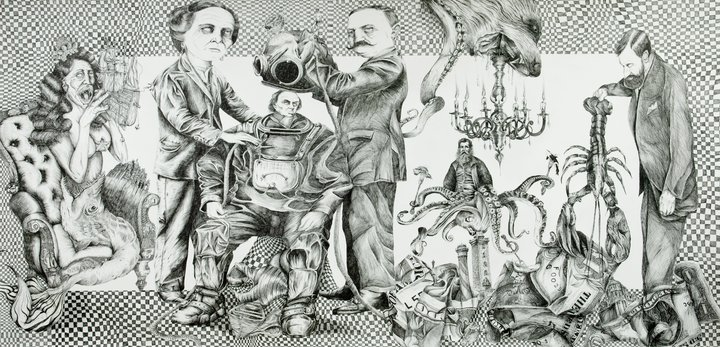 Toad Licking 28″x32″ Ballpoint Pen on Paper / Pug 36″x48″ Ballpoint Pen on Paper / Haunting Shores 72″ x 147″ Ballpoint Pen